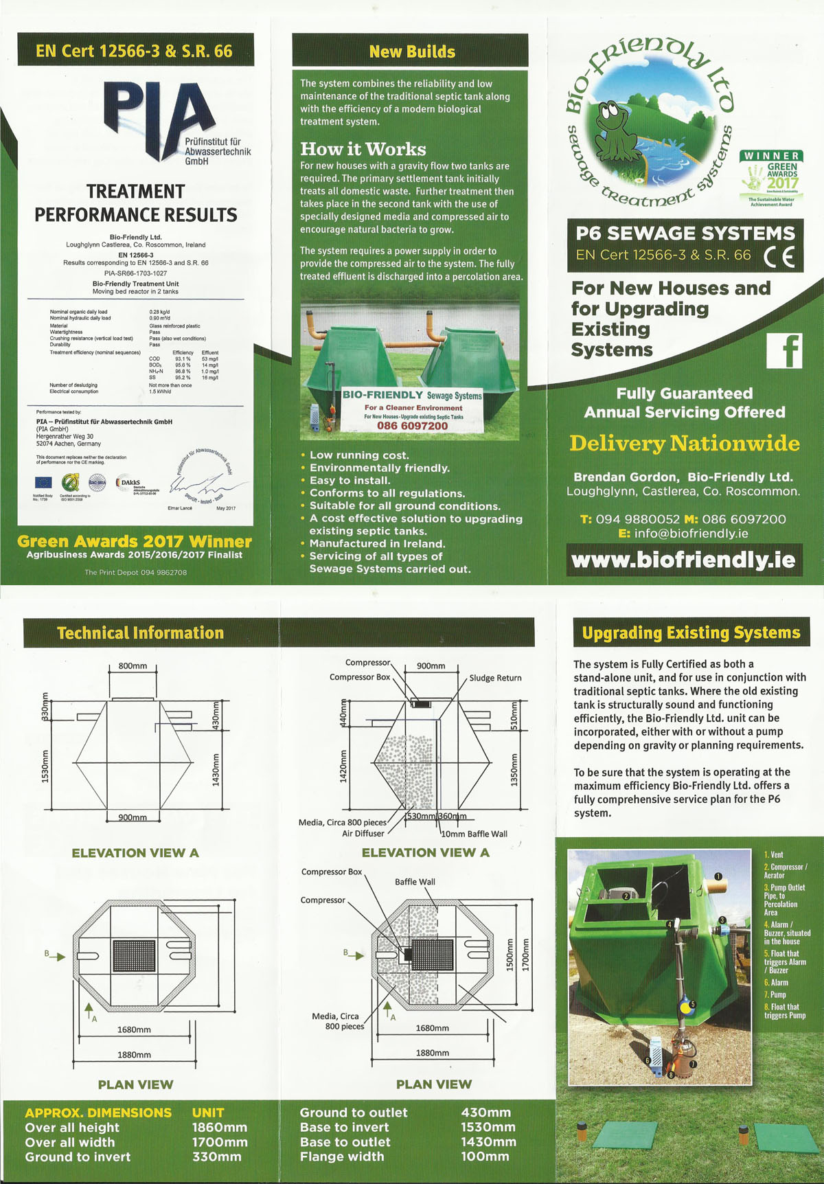 Bio-Friendly septic tank and waste water treatment system brochure for manufacture and installation of sewage systems.